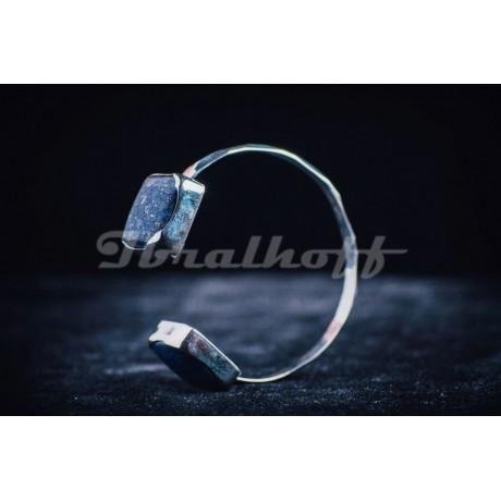 Sterling silver bracelet with square lapislazuli, Bijuterii de argint lucrate manual, handmade