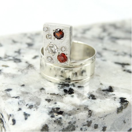 Sterling silver ring Constellation, Bijuterii de argint lucrate manual, handmade