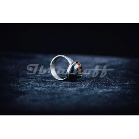 Inel argint 925 cu ochi de pisica negru, Bijuterii de argint lucrate manual, handmade