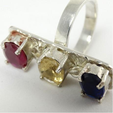 Sterling silver ring Rainbow Harvest, Bijuterii de argint lucrate manual, handmade