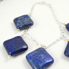 Sterling silver bracelet Lapis Ties