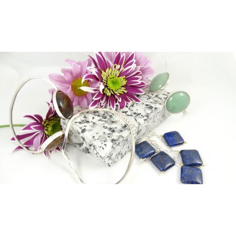 Sterling silver bracelet Lapis Ties, Bijuterii de argint lucrate manual, handmade