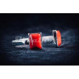 Sterling silver bracelet with reddish jaspe stones