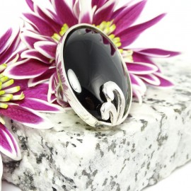 Sterling silver ring Carmina Nera