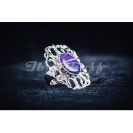 Sterling silver ring with round purple agath stone, Bijuterii de argint lucrate manual, handmade