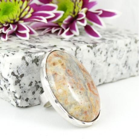 Large Sterling silver ring Streaks of Des(s)ert, Bijuterii de argint lucrate manual, handmade