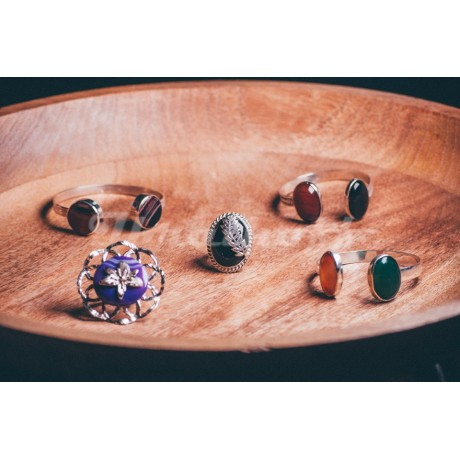 Sterling silver bracelet with reddish jaspe stones, Bijuterii de argint lucrate manual, handmade
