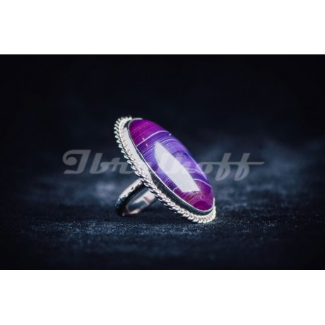 Sterling silver ring with large oval purple agath stone, Bijuterii de argint lucrate manual, handmade