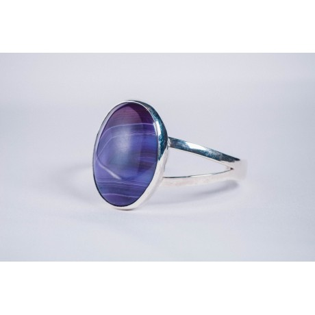 Sterling silver bracelet with purple oval agate, Bijuterii de argint lucrate manual, handmade