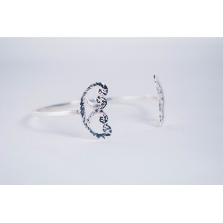 Sterling silver bracelet with butterfly - Shaped ends, Bijuterii de argint lucrate manual, handmade