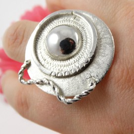 Large Sterling silver ring Sur le Flot