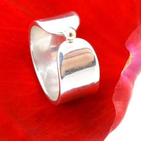 Sterling silver engagement ring with gold Hotspot, Bijuterii de argint lucrate manual, handmade