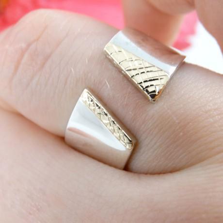 Sterling silver engagement ring with gold Young Blend, Bijuterii de argint lucrate manual, handmade