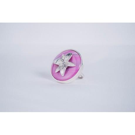 Sterling silver ring with pink agate, Bijuterii de argint lucrate manual, handmade