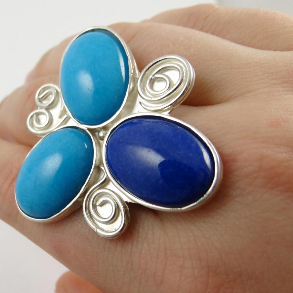 Sterling silver ring Jade Flower