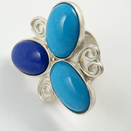 Sterling silver ring Jade Flower, Bijuterii de argint lucrate manual, handmade