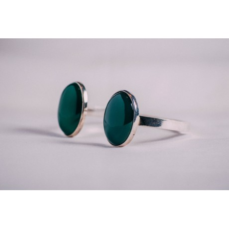 Sterling silver bracelet, with intense green agate stones, Bijuterii de argint lucrate manual, handmade