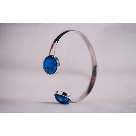Sterling silver bracelet with blue Haolithe, Bijuterii de argint lucrate manual, handmade