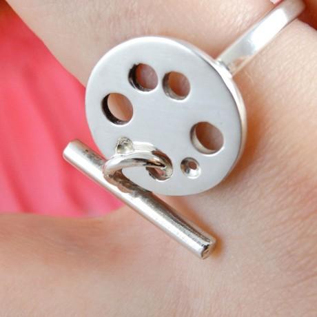Sterling silver ring Beat , Bijuterii de argint lucrate manual, handmade