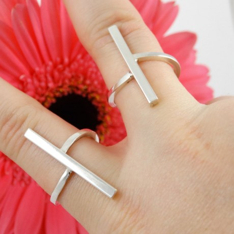 Set of two sporty trendy sterling rings, Bijuterii de argint lucrate manual, handmade