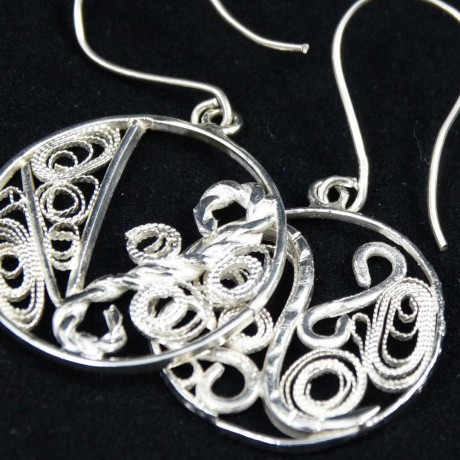 Unique sterling silver and filigree earrings Filigree Story, Bijuterii de argint lucrate manual, handmade