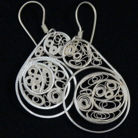 Earrings Filigree Piece Maitresse, Bijuterii de argint lucrate manual, handmade