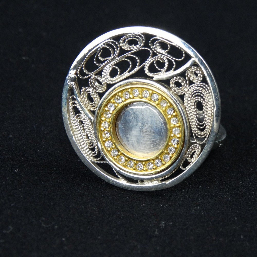 Unique sterling silver ring and filigreework Love Trap with crystals