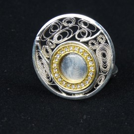 Unique sterling silver ring and filigreework Love Trap with crystals, Bijuterii de argint lucrate manual, handmade