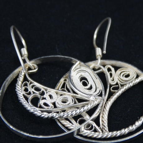 Unique pair of sterling silver earrings and filigree Love Tangle, Bijuterii de argint lucrate manual, handmade