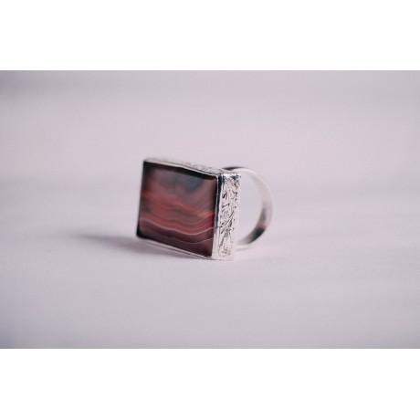 Sterling silver ring with large rectangular agath, Bijuterii de argint lucrate manual, handmade