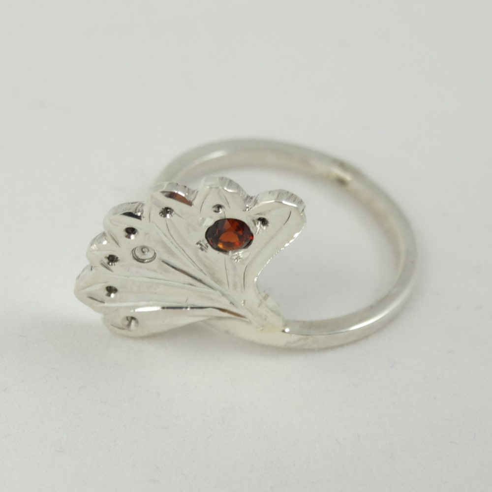 Sterling silver ring Semper with natural garnet