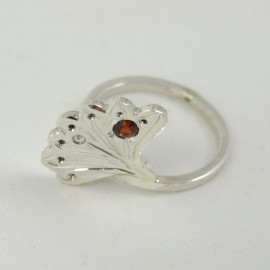 Sterling silver ring Semper with natural garnet, Bijuterii de argint lucrate manual, handmade