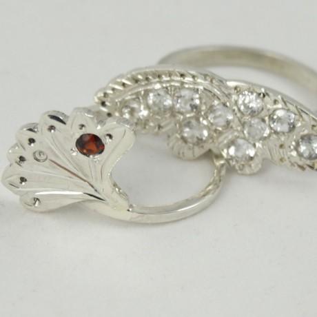 Sterling silver ring Semper with natural garnet, Bijuterii de argint lucrate manual, handmade