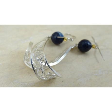 Sterling silver earrings with filigree SILVA REEA, Bijuterii de argint lucrate manual, handmade