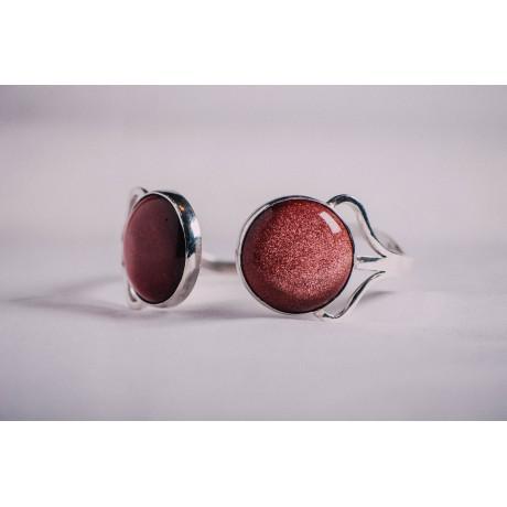 Sterling silver bracelet with sun stones, Bijuterii de argint lucrate manual, handmade