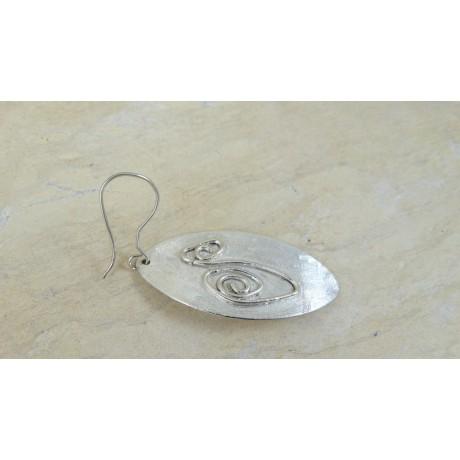 Sterling silver earrings Feathers Lara, Bijuterii de argint lucrate manual, handmade