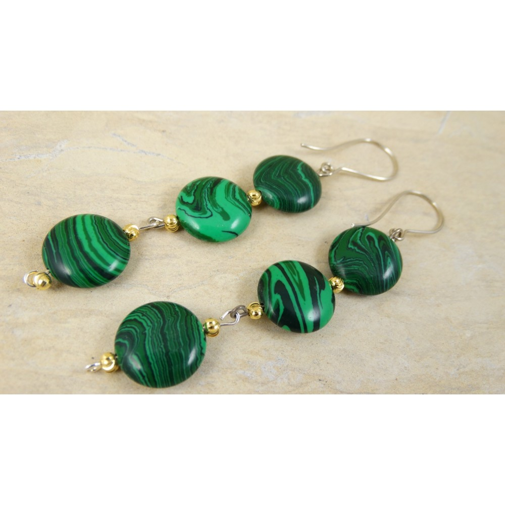 Sterling silver earrings with malachite Maka