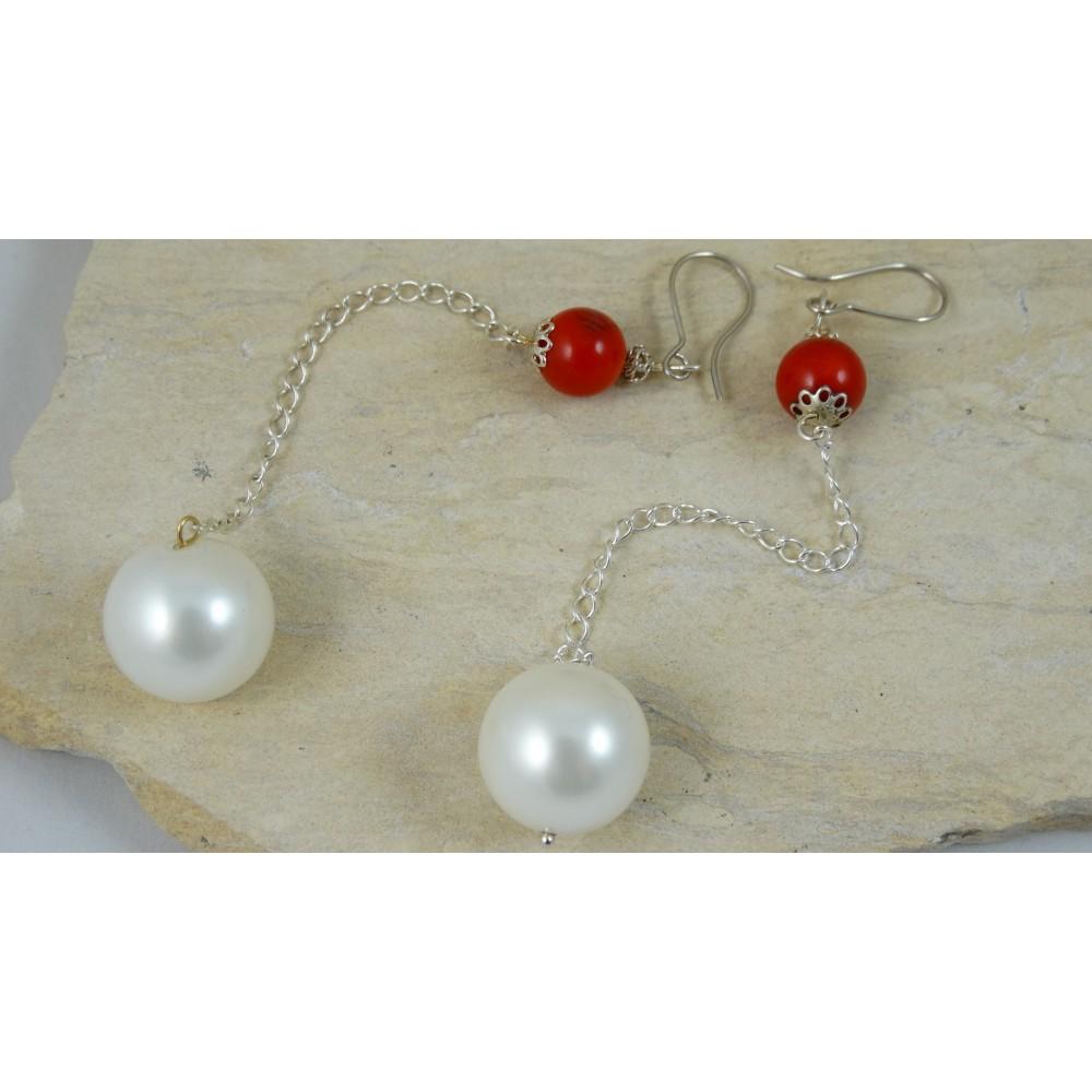Cercei Love Duet cu coral și perle