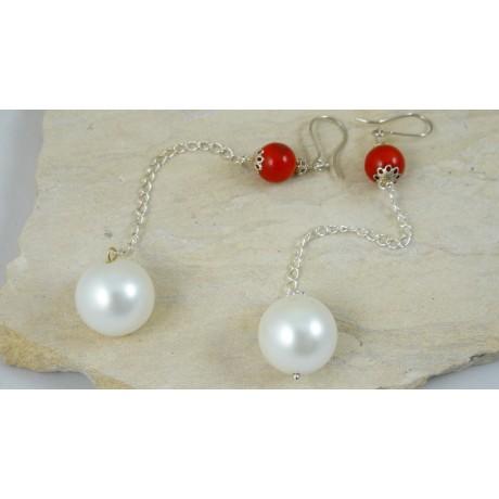 Cercei Love Duet cu coral și perle, Bijuterii de argint lucrate manual, handmade