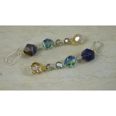 Sterling silver earrings Heydays of Love, Bijuterii de argint lucrate manual, handmade