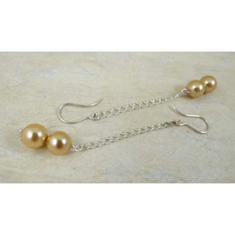 Sterling silver earrings Little Pearls, Bijuterii de argint lucrate manual, handmade