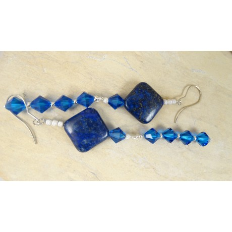 Sterling silver earrings BLUE ARENA, Bijuterii de argint lucrate manual, handmade