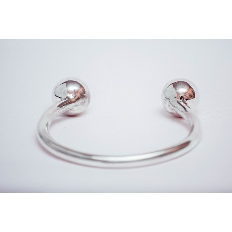 Sterling silver bracelet with two silver balls on end, handmade& handcrafted, Bijuterii de argint lucrate manual, handmade