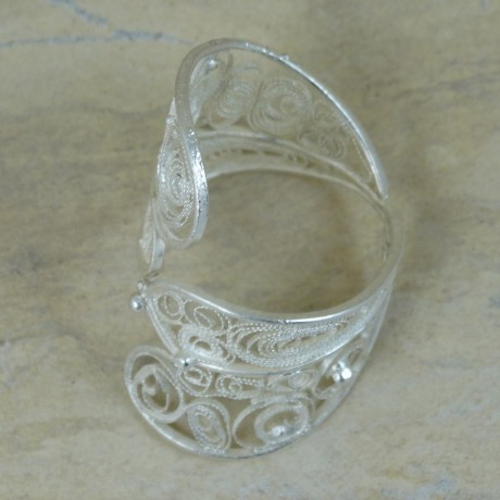 Sterling silver ring with pure filigree IN THE GRIP OF LOVE, Bijuterii de argint lucrate manual, handmade