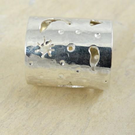 Sterling silver ring Christmas Stars, Bijuterii de argint lucrate manual, handmade