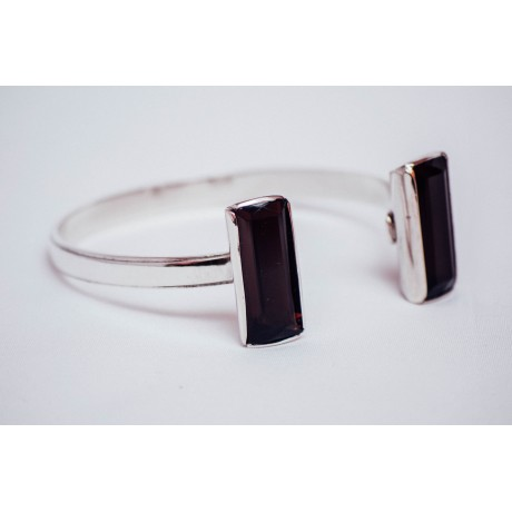 Sterling silver bracelet with two large citrines , amber coloured, rectangular shaped, faceted,  handmade & handcrafted, Bijuterii de argint lucrate manual, handmade