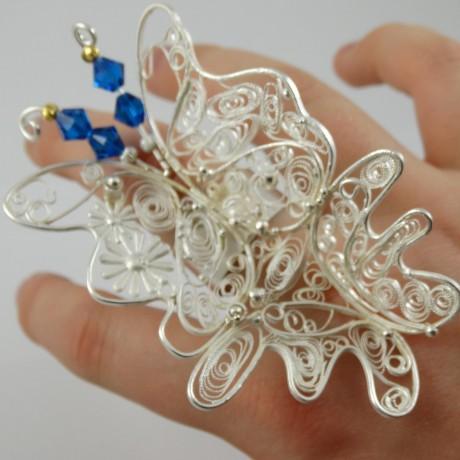 Unique Sterling silver ring FLAMBOYANCE, Bijuterii de argint lucrate manual, handmade