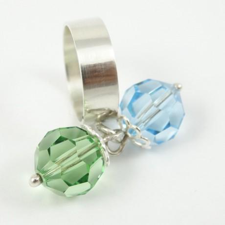 Sterling silver ring Sparkles, Bijuterii de argint lucrate manual, handmade