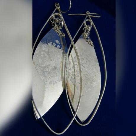 Sterling silver earrings MISTRESS, Bijuterii de argint lucrate manual, handmade