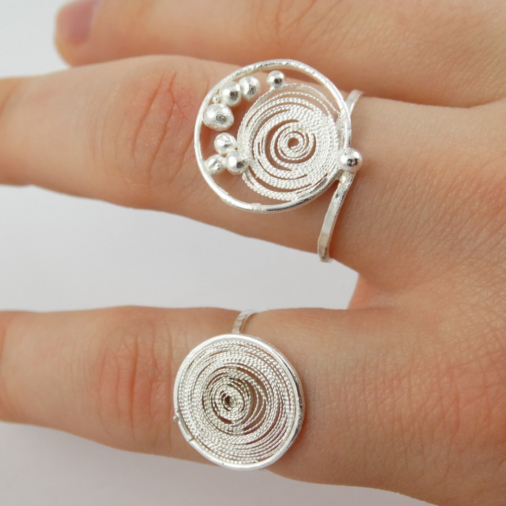 Sterling silver rings with filigree Skinny